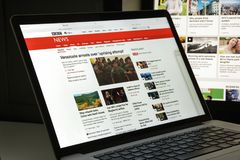米兰,意大利- 2017年8月10日:BBC网站主页 它是增殖比 免版税库存图片
