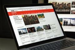 米兰,意大利- 2017年8月10日:BBC网站主页 它是增殖比 库存图片