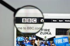 米兰,意大利- 2017年8月10日:BBC网站主页 它是增殖比 免版税图库摄影