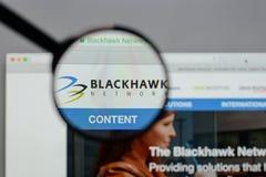 米兰,意大利- 2017年8月10日:Blackhawk网络藏品商标 图库摄影