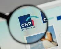 米兰,意大利- 2017年8月10日:CNP在websi的保证商标 图库摄影