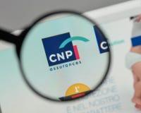 米兰,意大利- 2017年8月10日:CNP在websi的保证商标 免版税图库摄影