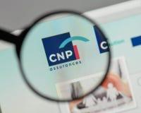 米兰,意大利- 2017年8月10日:CNP在websi的保证商标 库存照片