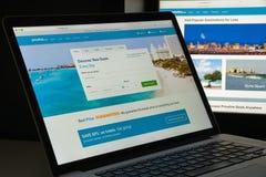 米兰,意大利- 2017年8月10日:Priceline网站主页 它i 免版税库存照片