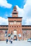 米兰,意大利- 2018年5月29日:Sforza城堡塔  Sforza城堡在15世纪被修造了由弗朗切斯科Sforza 免版税库存图片