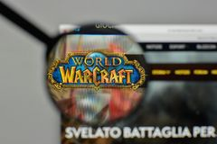 米兰,意大利- 2017年11月1日:Warcraft商标世界在w的 库存图片