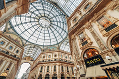 米兰,意大利- 2017年2月07日:圆顶场所维托里奥Emanuele II,一 免版税库存图片