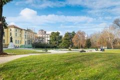 米兰,意大利 Indro Montanelli porta Venezia公园或庭院或通过帕莱斯特罗在米兰市 库存照片
