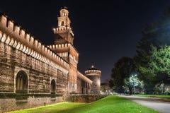米兰,方形的Castello,意大利 Castello Sforzesco Sforza城堡 免版税库存图片