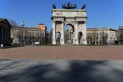 米兰,米兰Arco della步幅 免版税库存照片