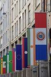 米兰-商展旗子在维托里奥Emanuele大道 图库摄影
