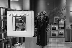 米兰- 2016年10月9日:乔治・阿玛尼商店在米兰 免版税库存图片