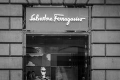 米兰- 2016年10月9日:菲拉格慕商店在米兰 免版税库存图片