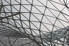 米兰Fiera屋顶建筑细节  免版税图库摄影