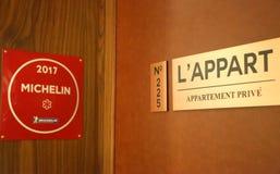 米其林星法国餐馆在Le District的L `分开在巴特里公园,纽约 免版税图库摄影
