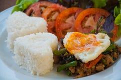 米冠上了用混乱油煎的猪肉和蓬蒿用鸡蛋 免版税图库摄影