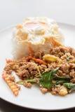 米冠上用混乱油煎的猪肉和蓬蒿 免版税图库摄影
