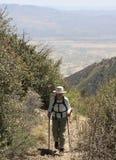 米勒峡谷足迹的一个远足者 免版税库存照片