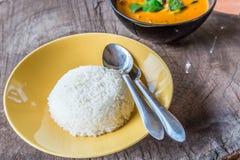 米和可口泰国panang咖喱 免版税库存图片
