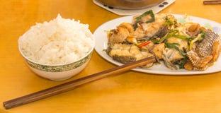 米和海鲜 库存照片