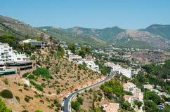 米哈斯镇周围在安大路西亚,南西班牙,普罗旺斯马拉加,太阳海岸 免版税图库摄影