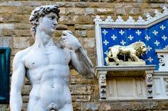 米开朗基罗在广场della Signoria,佛罗伦萨的` s大卫雕象 免版税库存图片