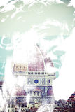 米开朗基罗的大卫和圣玛丽亚del菲奥雷圆顶在佛罗伦萨 库存照片