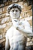 米开朗基罗` s大卫画象,雕象在佛罗伦萨 库存照片