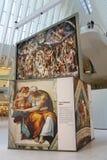 米开朗基罗` s西斯廷教堂由发生在世界贸易中心Oculus的Westfield结束陈列在纽约 免版税库存照片