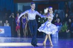 米斯克白俄罗斯, 2014年10月18日:未认出的舞蹈夫妇Perfo 库存图片