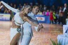 米斯克白俄罗斯, 2014年10月19日:未认出的舞蹈夫妇Perfo 库存照片