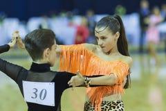 米斯克白俄罗斯, 10月5,2014 :未认出的专业舞蹈c 免版税库存图片