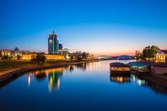 米斯克的市中心日落的 夜视图  免版税库存照片