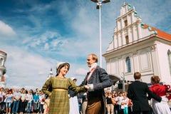 米斯克,比拉罗斯 人夫妇在衣裳穿戴了第19 免版税库存图片