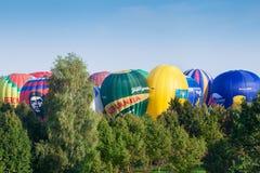 米斯克,比拉罗斯 13 9月2014 :在Champio的热空气baloon 免版税图库摄影
