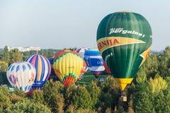 米斯克,比拉罗斯 13 9月2014 :热空气在的baloon飞行 库存照片