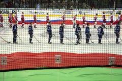 米斯克,白俄罗斯, 09 01 2018 - 曲棍球比赛迪纳莫队米斯克白俄罗斯- Lokomotiv雅罗斯拉夫尔市俄罗斯 图库摄影