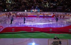 米斯克,白俄罗斯, 09 01 2018 - 曲棍球比赛迪纳莫队米斯克白俄罗斯- Lokomotiv雅罗斯拉夫尔市俄罗斯 免版税库存图片