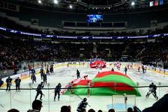 米斯克,白俄罗斯, 09 01 2018 - 曲棍球比赛迪纳莫队米斯克白俄罗斯- Lokomotiv雅罗斯拉夫尔市俄罗斯 免版税库存照片