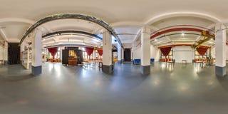 米斯克,白俄罗斯- 2018年:3D党顶楼内部的球状全景与360视角的 为虚拟现实准备 充分的e 图库摄影