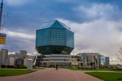 米斯克,白俄罗斯- 2018年5月01日:国立图书馆在米斯克是白俄罗斯共和国的版权图书馆 它是 库存照片