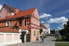 米斯克,白俄罗斯- 2013年8月01日:在三位一体小山、另一个名字三位一体郊区或者Trojeckaje Pradmiescie的老大厦 免版税图库摄影