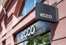 米斯克,白俄罗斯- 2017年6月16日:在入口上的一个标志ECCO存放在米斯克 Ecco是鞋子和鞋类,传播丹麦品牌  免版税库存图片