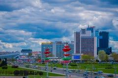 米斯克,白俄罗斯- 2018年5月01日:城市大厦风景的美好的室外看法在horizont的,照片拍从 免版税图库摄影