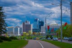 米斯克,白俄罗斯- 2018年5月01日:城市大厦风景的美好的室外看法在horizont的,照片拍从 图库摄影