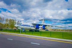 米斯克,白俄罗斯- 2018年5月01日:老民航露天博物馆在米斯克机场输入的  图波列夫Tu134 库存图片