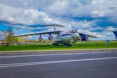 米斯克,白俄罗斯- 2018年5月01日:老民航露天博物馆在米斯克机场输入的  图波列夫Tu134 免版税库存照片
