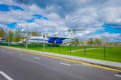 米斯克,白俄罗斯- 2018年5月01日:老民航露天博物馆在米斯克机场输入的  图波列夫Tu134 免版税图库摄影