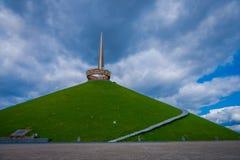 米斯克,白俄罗斯- 2018年5月01日:荣耀,一部分第二次世界大战小山的纪念品的Khatyn纪念复合体 图库摄影