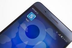 米斯克,白俄罗斯- 2017年9月17日:Skype在智能手机屏幕特写镜头的应用象 Skype app 图库摄影